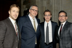 """Ryan Gosling, Director Adam McKay, Brad Pitt and Steve Carell attend the afterparty for the New York Premiere of """"THE BIG SHORT"""" from Paramount Pictures & Regency Enterprises, at The Ziegfeld Theater in New York, NY on Monday, November 23, 2015."""