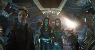 Marvel Studios' AVENGERS: INFINITY WAR..L to R: Star-Lord/Peter Quill (Chris Pratt), Groot (voiced by Vin Diesel), Gamora (Zoe Saldana), Mantis (Pom Klementieff), Rocket (voiced by Bradley Cooper) and Drax (Dave Bautista)..Photo: Film Frame..©Marvel Studios 2018